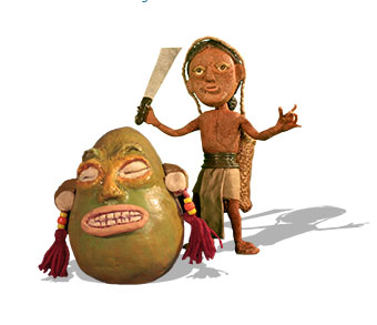 Topa raised his dao to cut the gourd in the Wancho Story of the Gourd